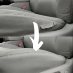 Before & After of a vinyl seat repair on the drivers seat upholstery