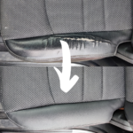 Before & After of a leather seat repair on the drivers seat upholstery