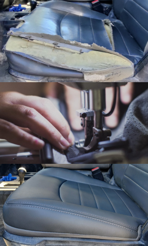 Three photos that demonstrate the before and after of a seat repair on a vehicle's upholstery
