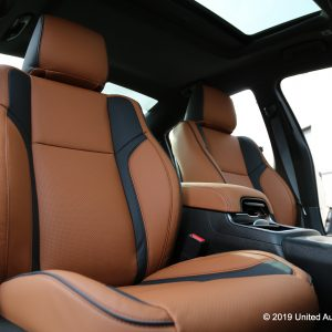 Classy custom leather installation of brown leather with black wings
