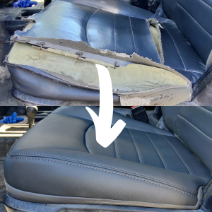 Before & After of a leather and foam seat repair on the drivers seat upholstery