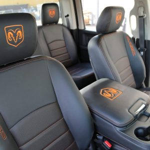 Ram 1500 Classic with new black leather seats and orange contrast stitch and embroidery